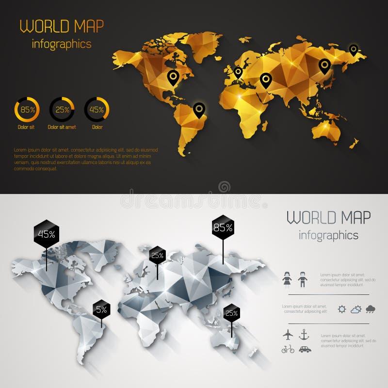 Mapa del mundo abstracto con las etiquetas, los puntos y los destinos ilustración del vector