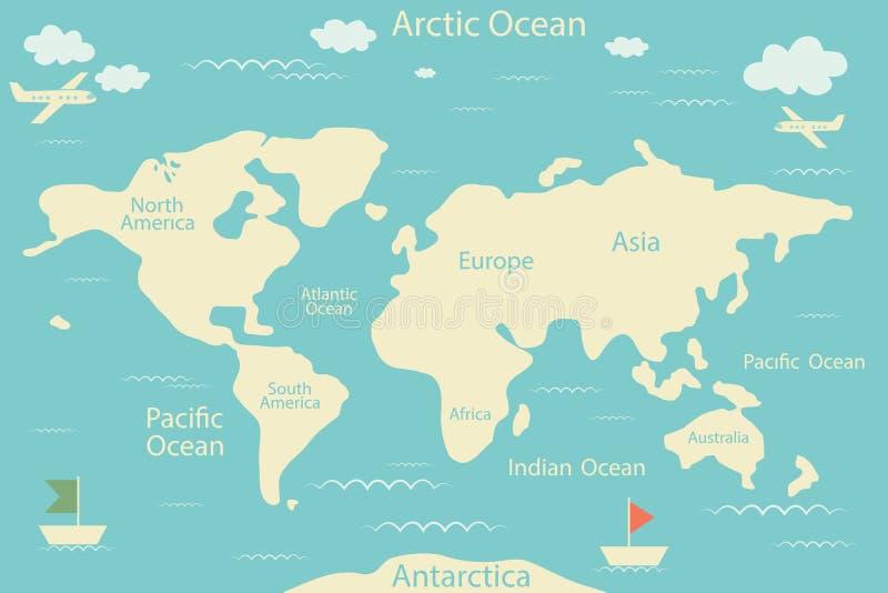 Mapa del mundo aislado en un fondo azul Ilustración del vector Disposición de la disposición infographic Mundo plano de la tierra ilustración del vector