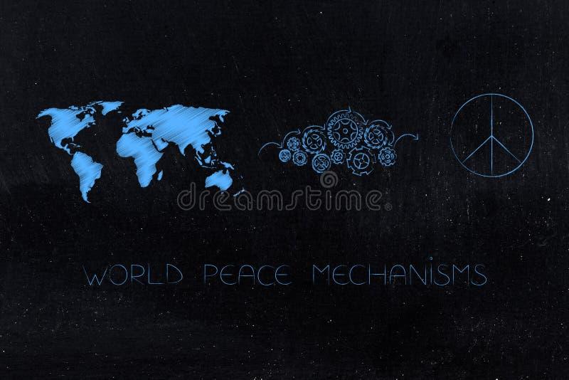 Mapa del mundo al lado del mecanismo de la rueda dentada que elabora un símbolo de paz imagen de archivo libre de regalías