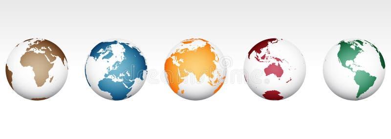 Mapa del mundo - alto vector detallado stock de ilustración
