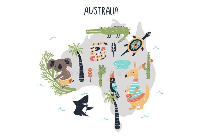 Mapa del mundo animal - continente Australia Impresión exhausta del cuarto de niños de la mano linda en estilo escandinavo Ilustr stock de ilustración