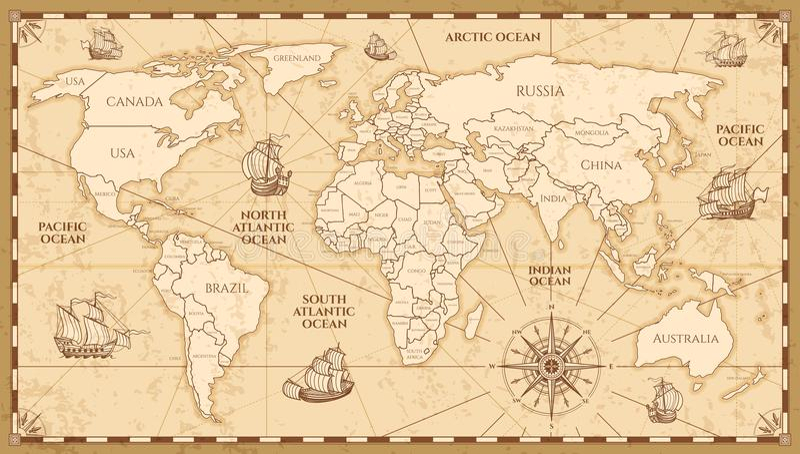 Mapa del mundo antiguo del vector con límites de los países stock de ilustración