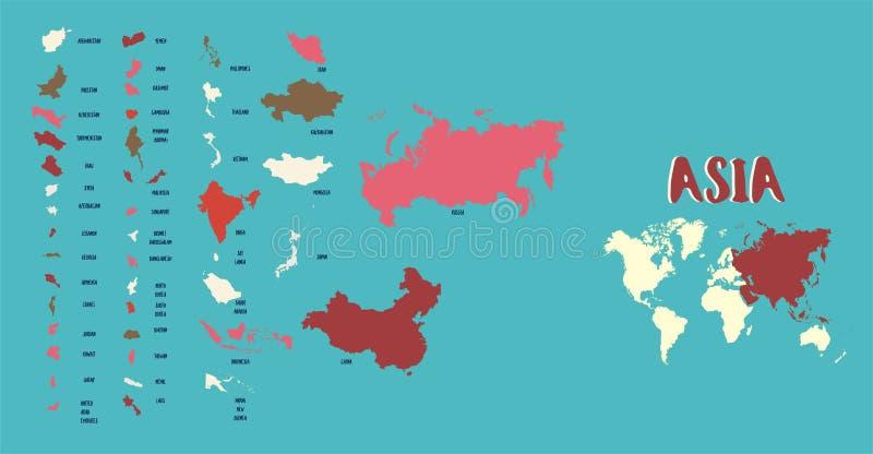 Mapa del mundo Asia detallada altamente ilustración del vector