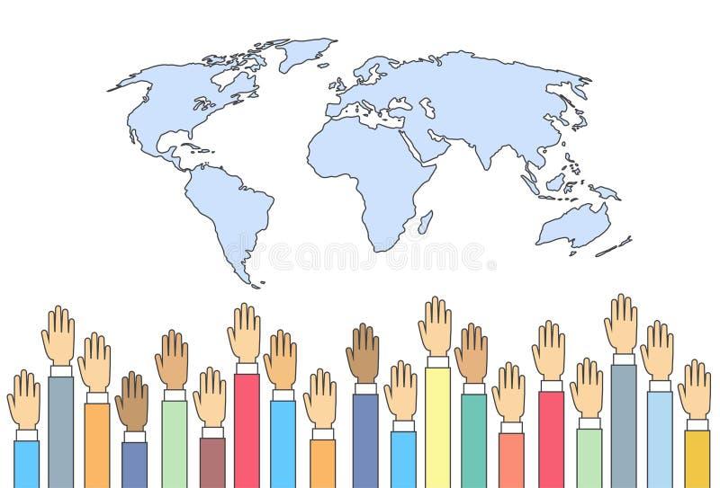Mapa del mundo aumentado encima de la unión del International de las manos ilustración del vector
