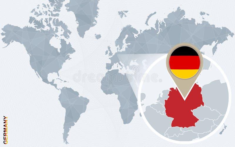 Mapa del mundo azul abstracto con Alemania magnificada stock de ilustración