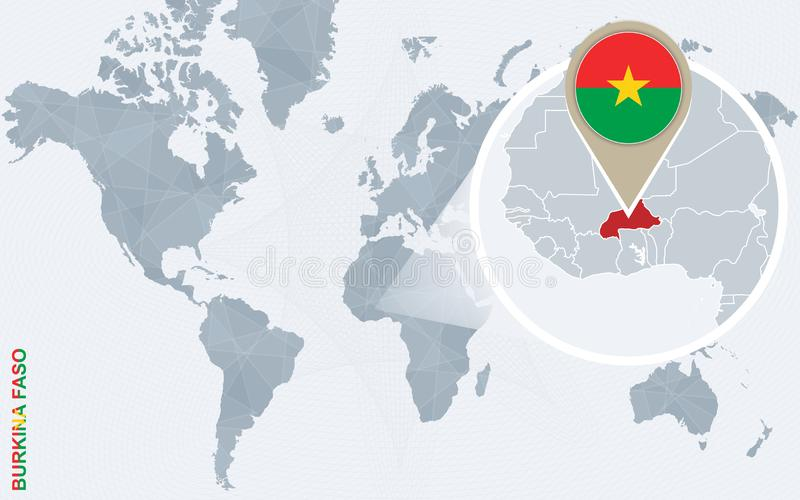 Mapa del mundo azul abstracto con Burkina Faso magnificado ilustración del vector