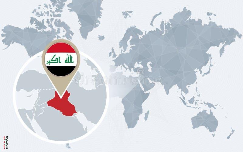 Mapa del mundo azul abstracto con Iraq magnificado stock de ilustración