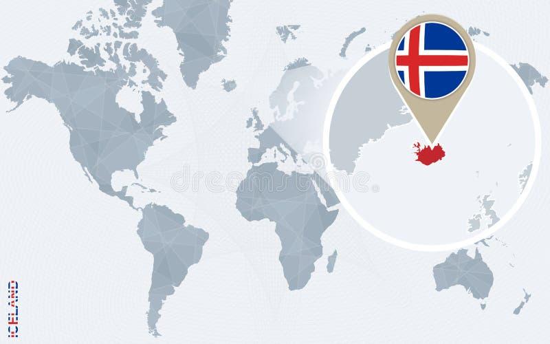 Mapa del mundo azul abstracto con Islandia magnificada stock de ilustración