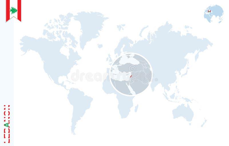 Mapa del mundo azul con magnificar en Líbano libre illustration