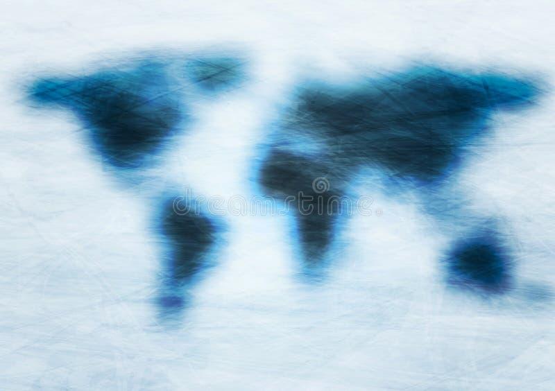 Mapa del mundo azul del vector del grunge ilustración del vector