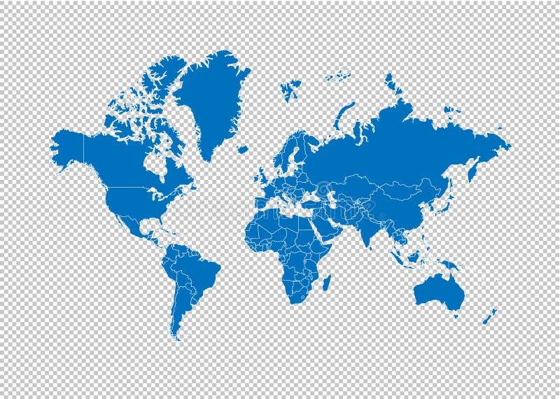 Mapa del mundo - mapa azul detallado del alto con los condados/las regiones/los estados del mundo mapa del mundo aislado en fondo ilustración del vector