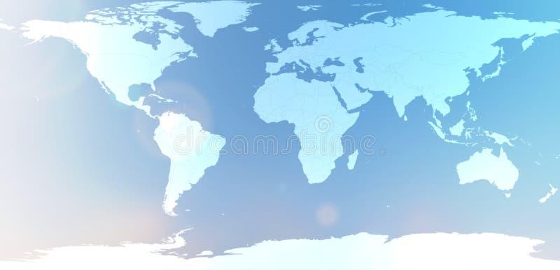 Mapa del mundo azul en extracto borroso del cielo del fondo imágenes de archivo libres de regalías