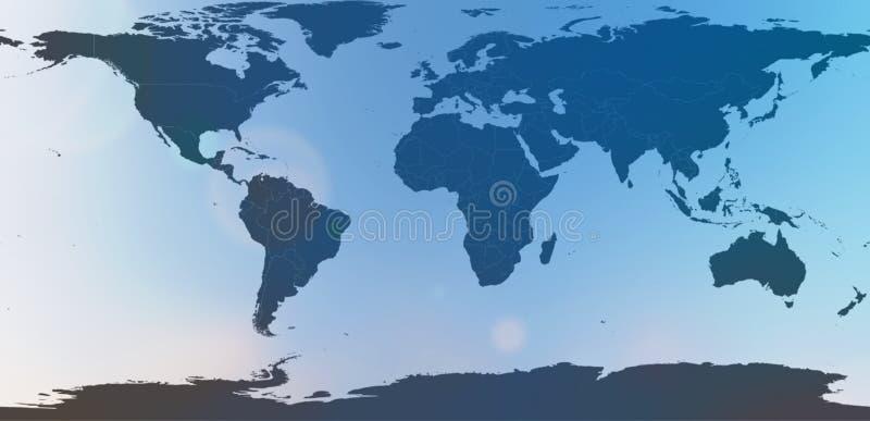 Mapa del mundo azul en extracto borroso del cielo del fondo foto de archivo
