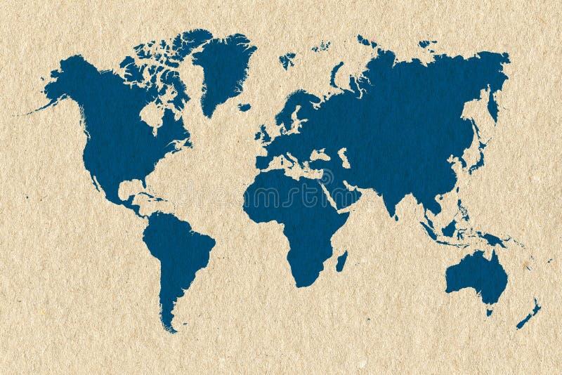 Mapa del mundo azul en la textura poner crema del papel hecho a mano libre illustration