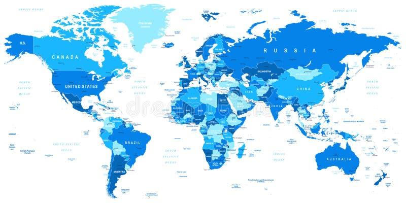 Mapa del mundo azul - fronteras, países y ciudades - ejemplo stock de ilustración