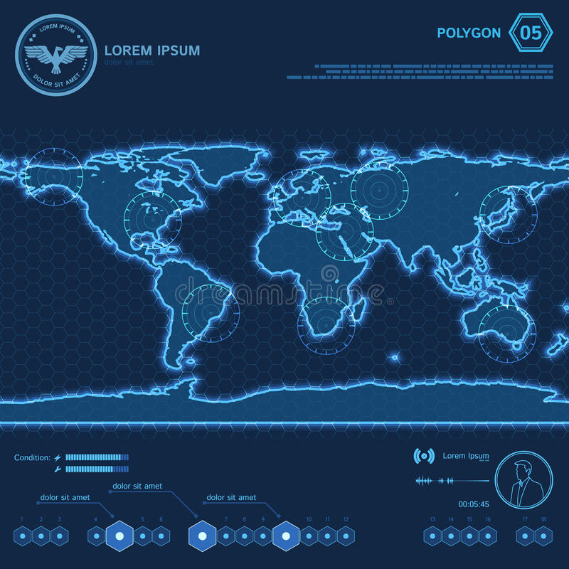 Mapa del mundo azul HUD Screen del polígono libre illustration