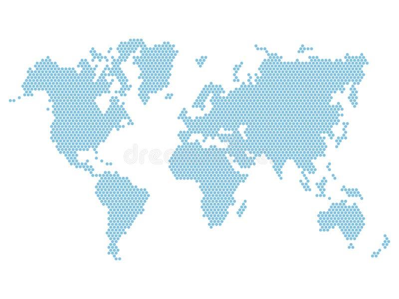 Mapa del mundo azul punteado aislado en blanco Vector stock de ilustración