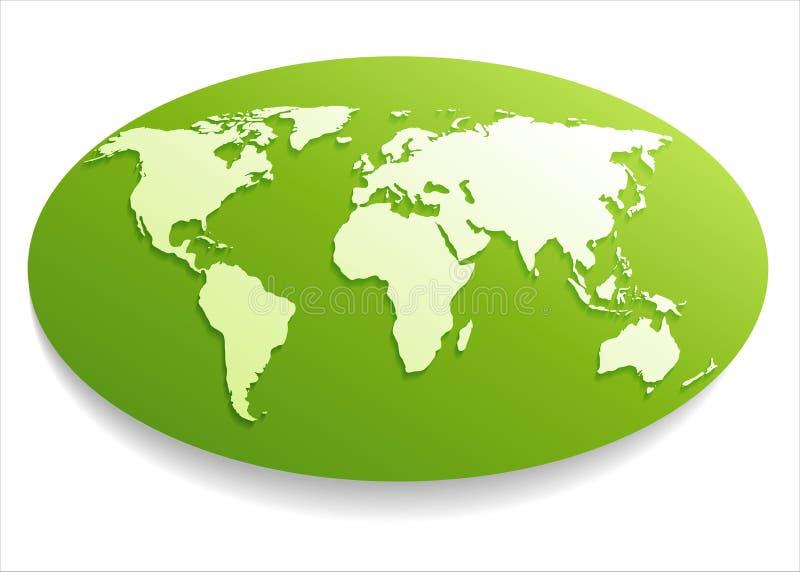 Mapa del mundo blanco. stock de ilustración