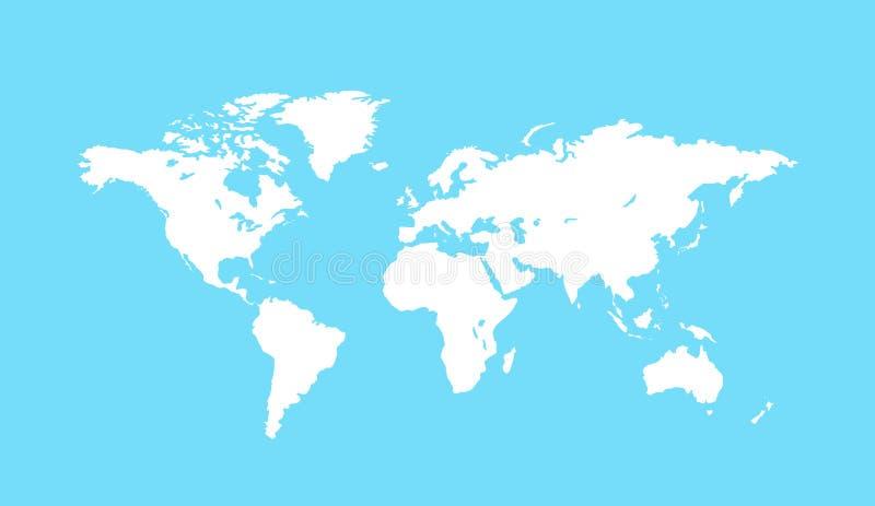 Mapa del mundo blanco en blanco Ejemplo del vector de la tierra del planeta Plantilla de Worldmap para la página web, diseño, cub ilustración del vector