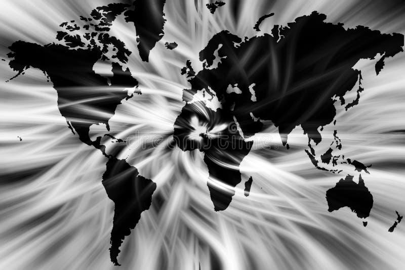 Mapa del mundo blanco y negro imagen de archivo