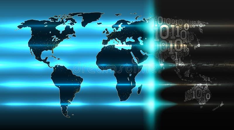 Mapa del mundo del código binario con un fondo del hardware abstracto Concepto de tecnología digital, servicio de la nube, Intern ilustración del vector