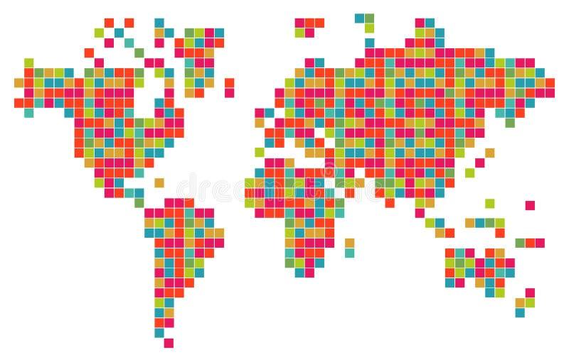 Mapa del mundo colorido abstracto de la tecnología ilustración del vector