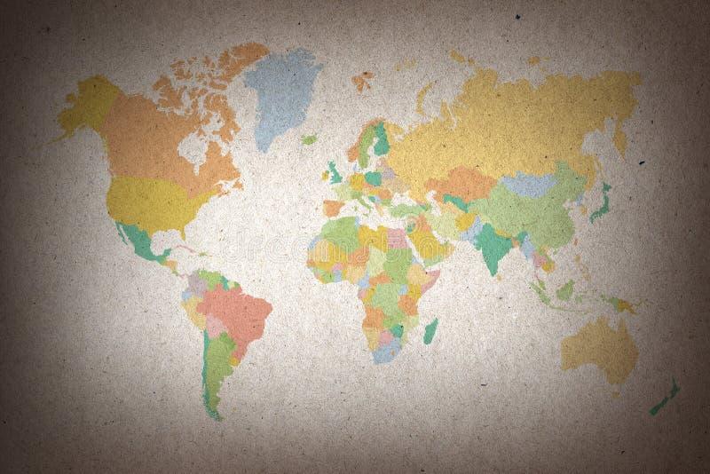 Mapa del mundo colorido en fondo del papel marrón libre illustration