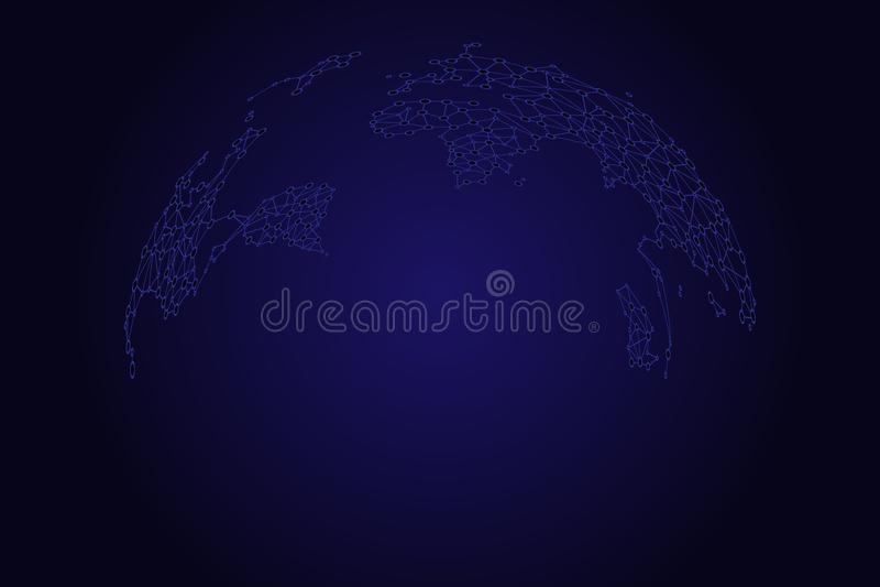Mapa del mundo como globo en los puntos y las líneas, conexión de red global, significado internacional ilustración del vector