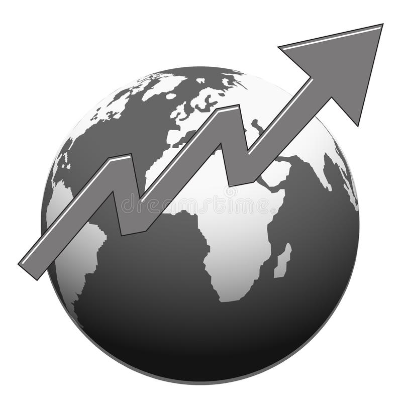 Mapa del mundo con diseño monocromático de la flecha del éxito stock de ilustración