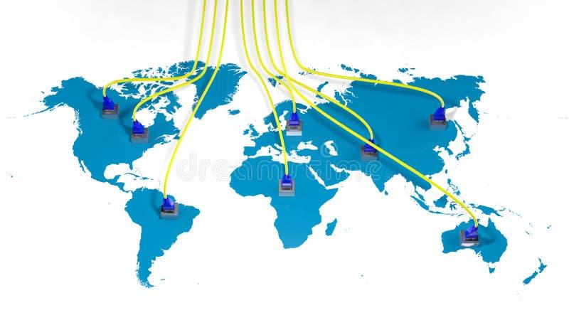 Mapa del mundo con el acceso múltiple de Internet stock de ilustración