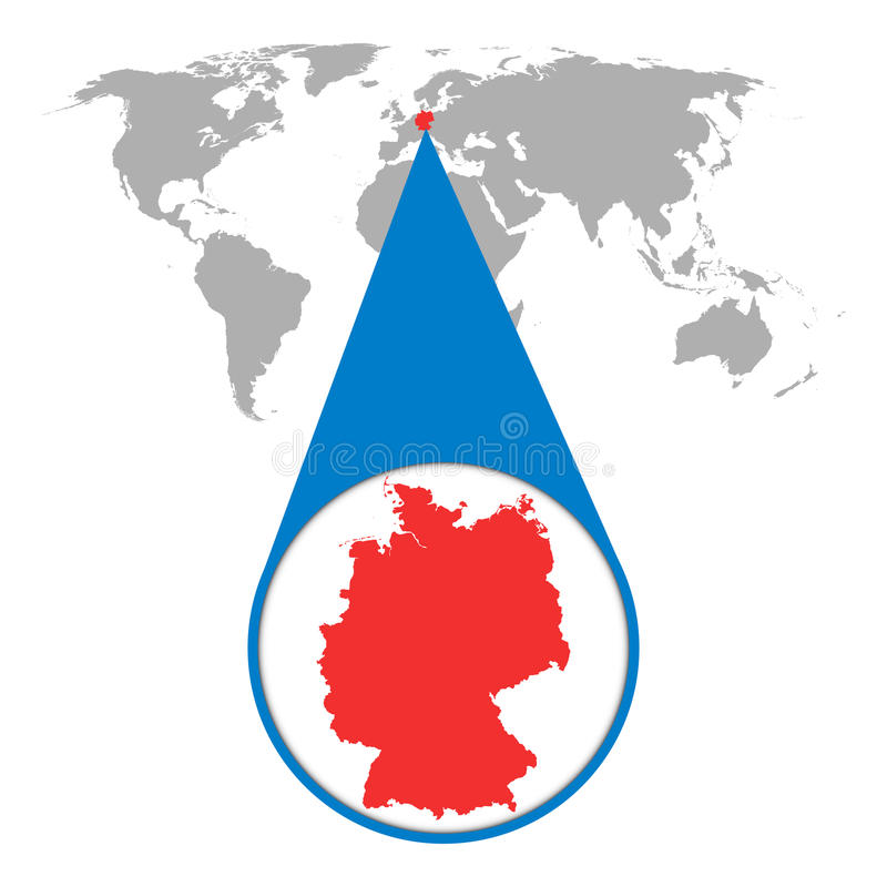 Mapa del mundo con el enfoque en Alemania Mapa en lupa Vector Illustratio stock de ilustración