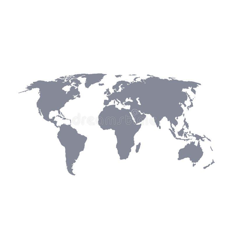 Mapa del mundo con el esquema negro y el terraplén gris, ejemplo del vector ilustración del vector