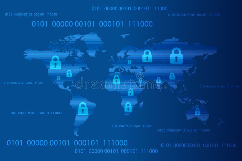 Mapa del mundo con el fondo de la cerradura de cojín cerrada y del código binario, concepto cibernético de la seguridad Ilustraci libre illustration