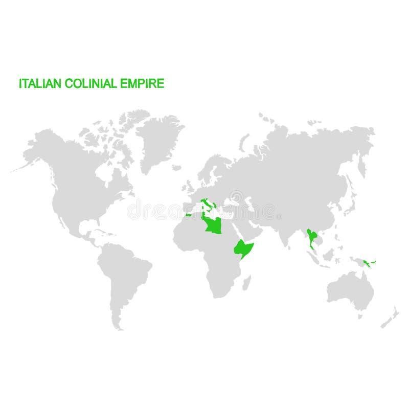 Mapa del mundo con el imperio colonial italiano stock de ilustración