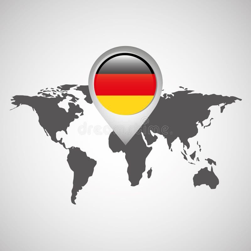 Mapa del mundo con la bandera Alemania del indicador ilustración del vector