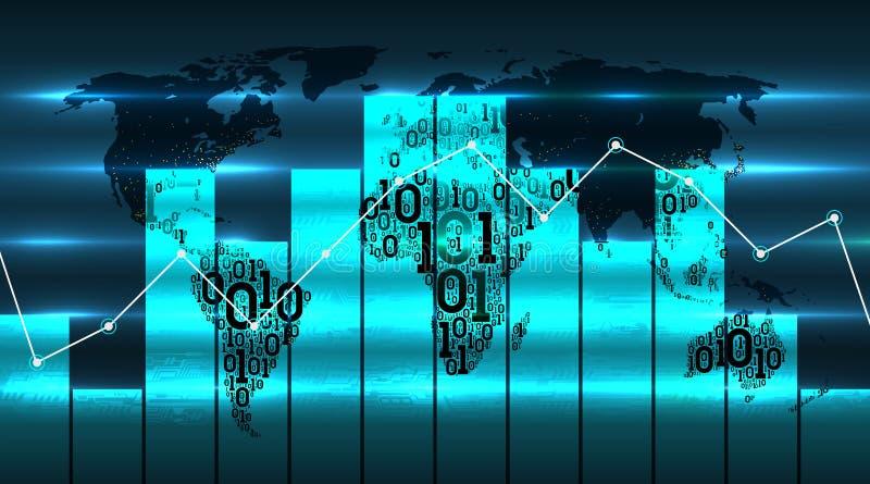 Mapa del mundo con la carta y el diagrama del gráfico, en el fondo de las tecnologías globales digitales futuras Concepto de la t ilustración del vector