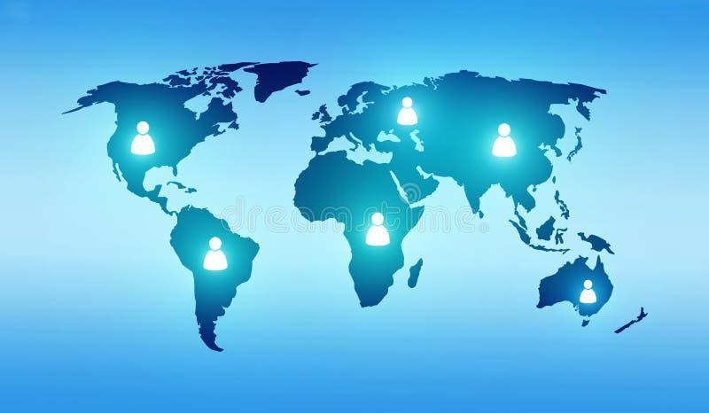 Mapa del mundo con la gente ilustración del vector