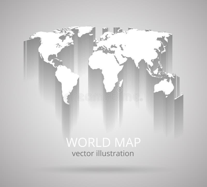 Mapa del mundo con la sombra stock de ilustración