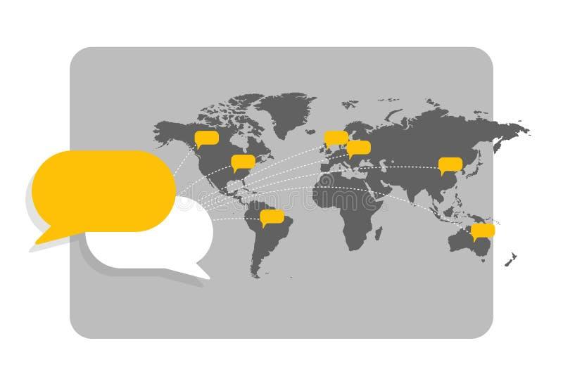 Mapa del mundo con las burbujas del mensaje que muestran la interconexión con uno a y la comunicación global ilustración del vector
