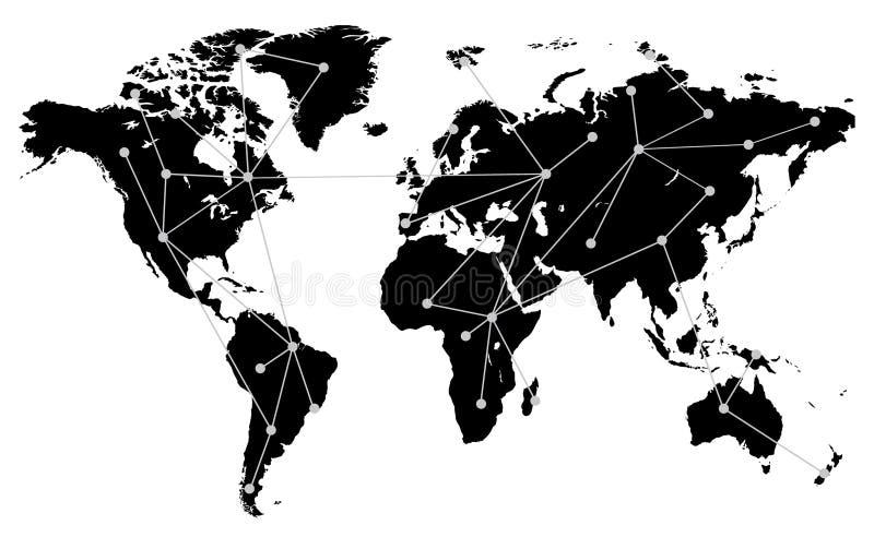 Mapa del mundo con las conexiones, Lints y las líneas imagen de archivo