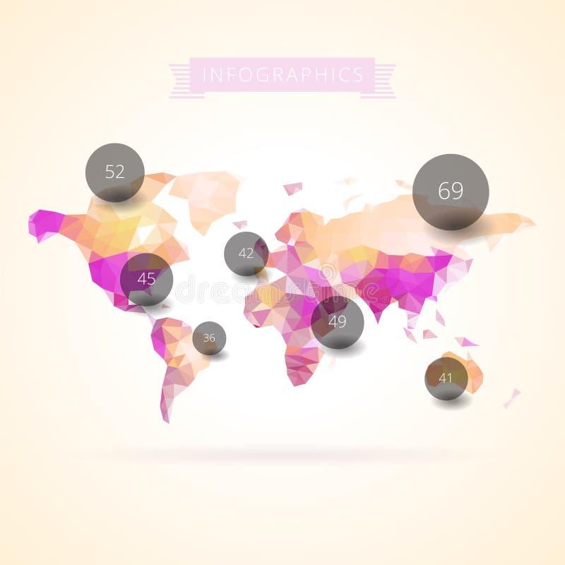 Mapa del mundo con los elementos del infographics ilustración del vector