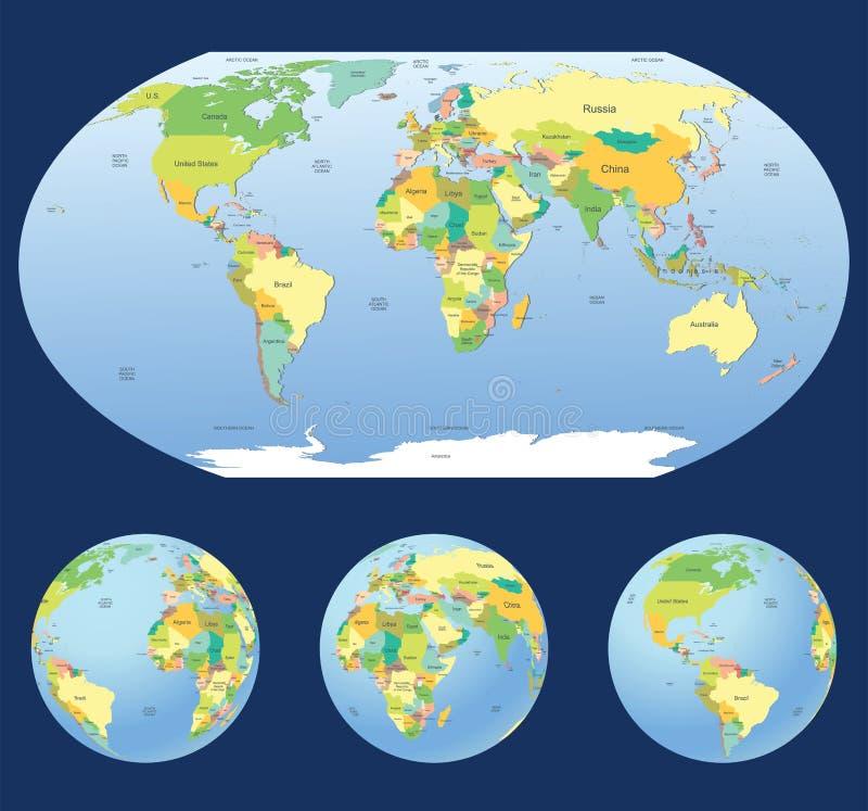 Mapa del mundo con los globos de la tierra stock de ilustración