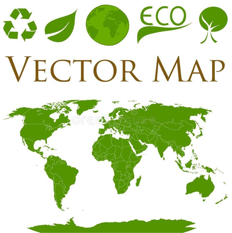 Mapa del mundo con los iconos de la ecología foto de archivo libre de regalías
