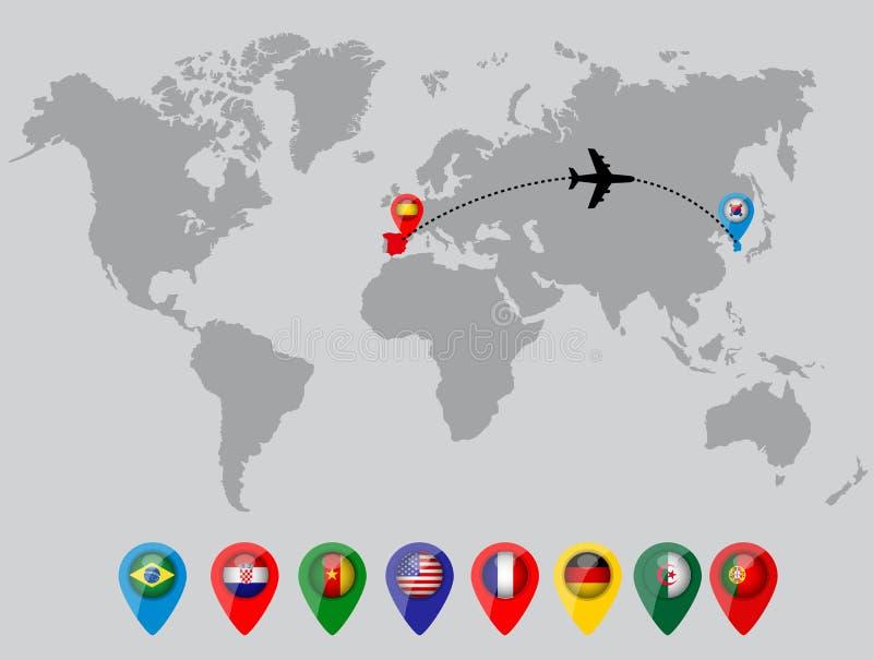 Mapa del mundo con los pernos de la bandera de país stock de ilustración