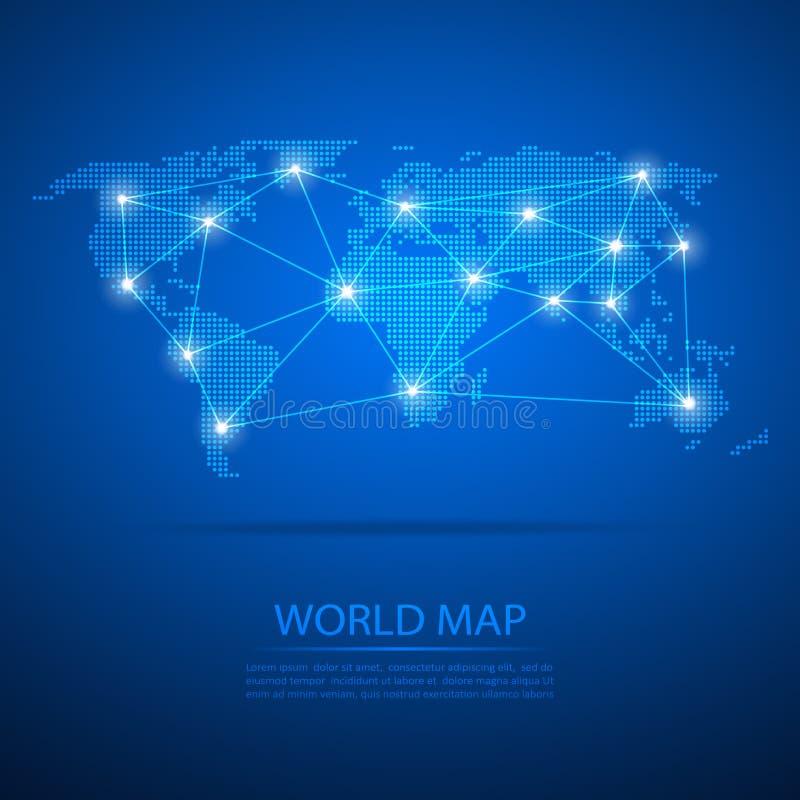 Mapa del mundo con nodos del punto Mapa de los puntos del diseño del vector Fondo del mapa de los puntos ilustración del vector