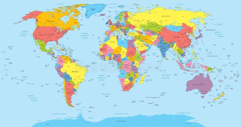 Mapa del mundo con nombres de los países, del país y de la ciudad ilustración del vector