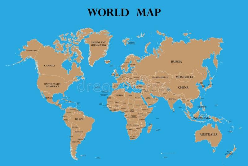 Mapa del mundo con nombres de países stock de ilustración