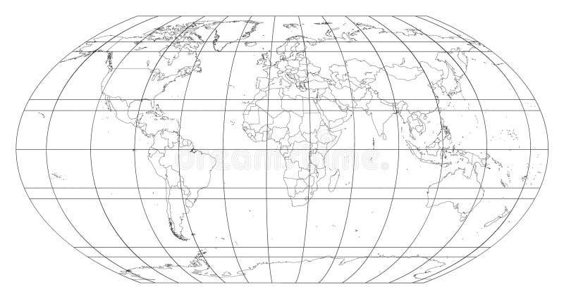 Mapa del mundo con rejilla de los meridianos y de los paralelos en el fondo blanco Todos los países e islas Vector EPS8 stock de ilustración