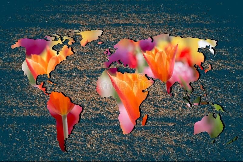 Mapa del mundo con relleno de tulipán en el jardín fotografía de archivo