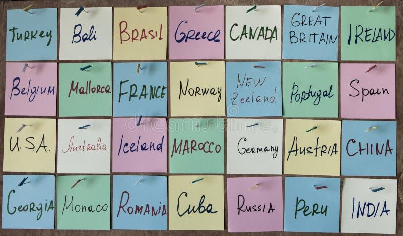 Mapa del mundo del concepto del viaje Escritorio de la endecha del día de fiesta del plan imagenes de archivo